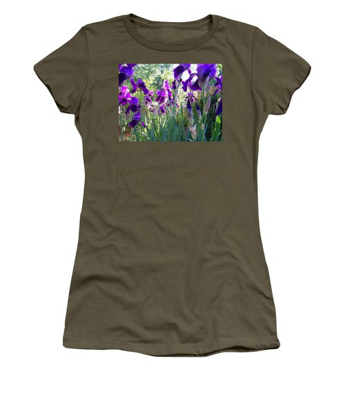 Women's T-Shirt (Junior Cut) featuring the digital art Field Of Irises by Barbara S Nickerson