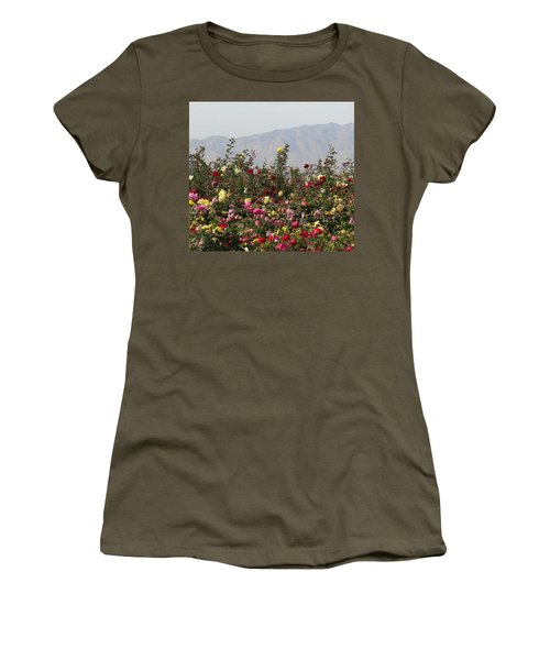 Women's T-Shirt (Junior Cut) featuring the photograph Field Of Roses by Laurel Powell