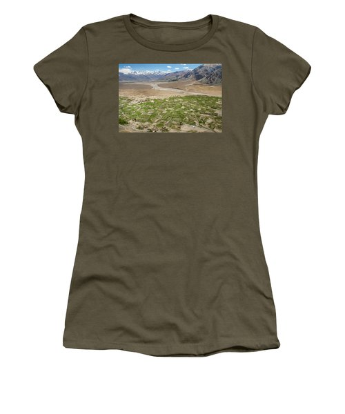 Women's T-Shirt (Athletic Fit) featuring the photograph Fields Of Zangla, Zanskar, 2008 by Hitendra SINKAR