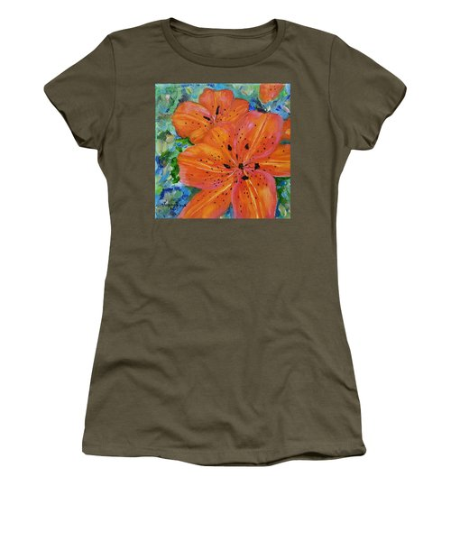 Women's T-Shirt (Athletic Fit) featuring the painting Fierce Tiger by Judith Rhue