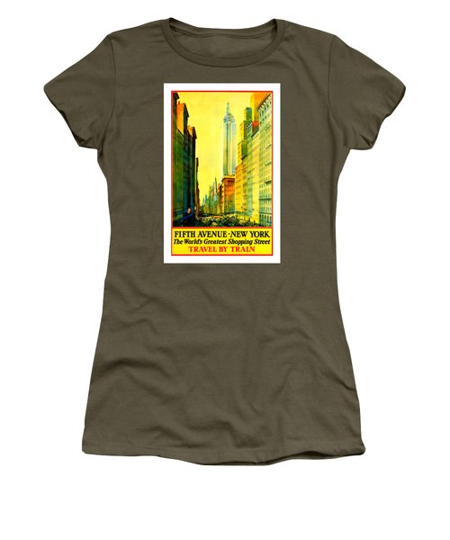 Fifth Avenue New York Travel By Train 1932 Frederick Mizen Women's T-Shirt (Junior Cut) by Peter Gumaer Ogden Collection