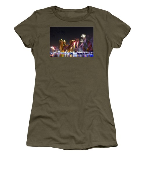 Women's T-Shirt (Junior Cut) featuring the photograph Fireworks Along The Love River In Taiwan by Yali Shi