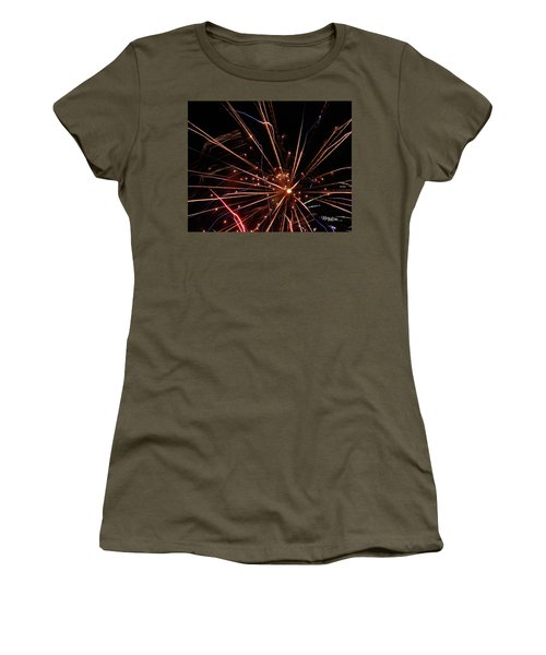 Women's T-Shirt (Athletic Fit) featuring the photograph Fireworks Blast #0703 by Barbara Tristan