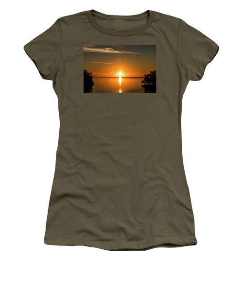 Women's T-Shirt (Athletic Fit) featuring the photograph First Key West Sunrise 2018 D by Bob Slitzan