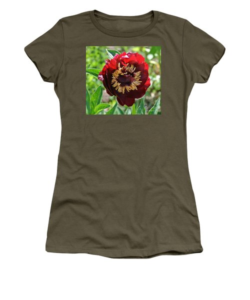 First Peony Bloom Women's T-Shirt (Junior Cut) by Marsha Heiken
