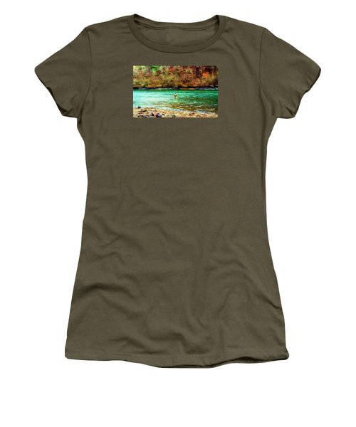 Women's T-Shirt (Junior Cut) featuring the photograph Fisherman Hot Springs Ar In Oil by Diana Mary Sharpton