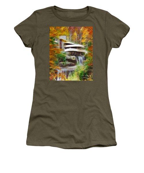 Fixer Upper - Frank Lloyd Wright's Fallingwater Women's T-Shirt (Junior Cut) by John Robert Beck