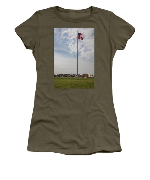 Flag Poll At Detroit Tiger Stadium  Women's T-Shirt