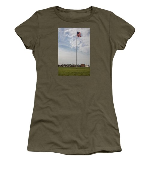 Flag Poll At Detroit Tiger Stadium  Women's T-Shirt (Athletic Fit)