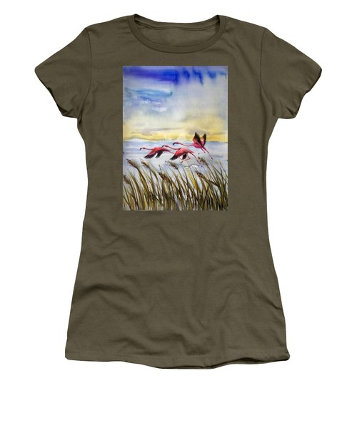Flamingoes Flight Women's T-Shirt (Athletic Fit)