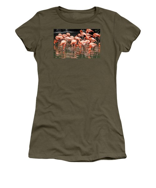 Women's T-Shirt featuring the photograph Flamingo Looking For Food by Pradeep Raja Prints