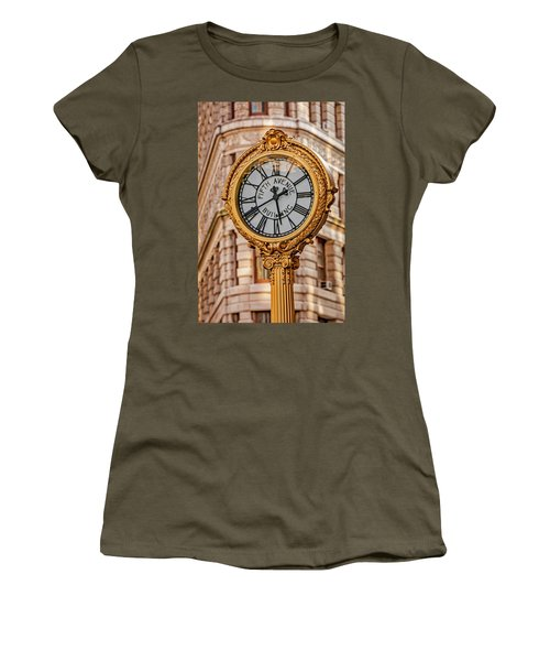 Women's T-Shirt (Athletic Fit) featuring the photograph Flatiron And Fifth Ave Clock Nyc  by Susan Candelario