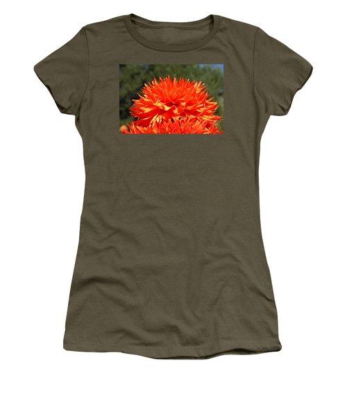Floral Orange Dahlia Flowers Art Prints Women's T-Shirt