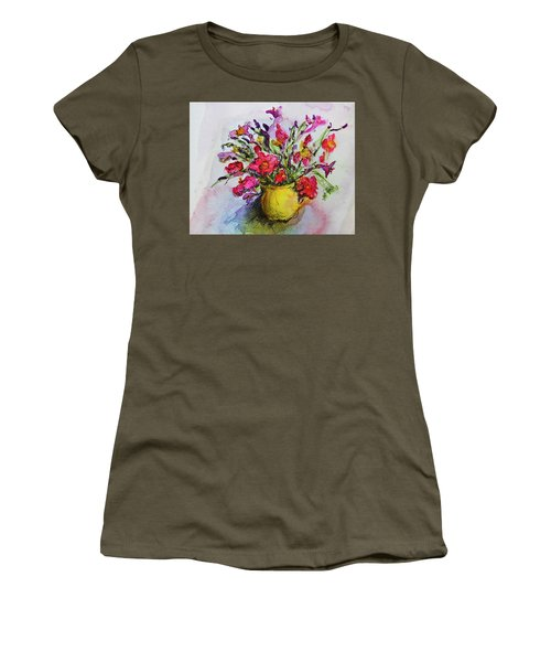 Women's T-Shirt (Junior Cut) featuring the painting Floral Still Life 05 by Linde Townsend