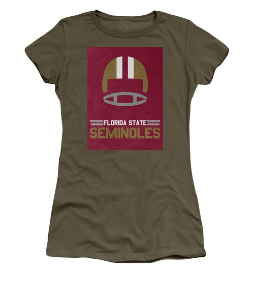 Florida State Seminoles Vintage Football Art Women's T-Shirt (Athletic Fit)