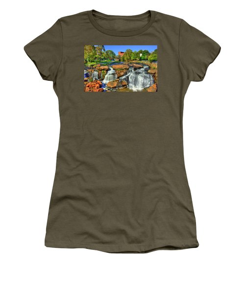 Flow On Reedy River Falls Park Art Greenville South Carolina Art Women's T-Shirt