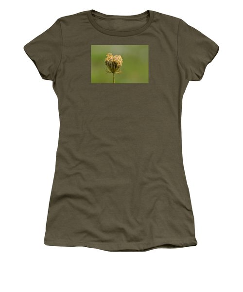 Women's T-Shirt (Junior Cut) featuring the photograph Flower Turning Into A Seed Pod Dispenser 2  by Lyle Crump