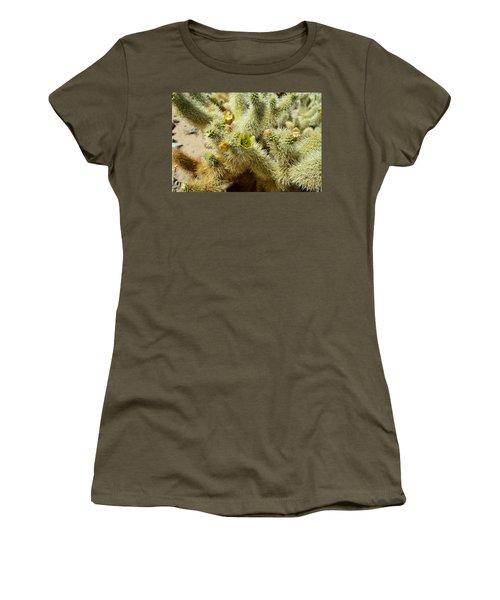 Flowering Cholla Cactus - Joshua Tree National Park Women's T-Shirt (Junior Cut) by Glenn McCarthy
