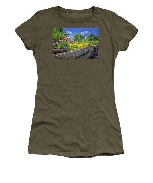 Flowers Along A Wooden Fence Women's T-Shirt (Junior Cut) by Steve Hurt