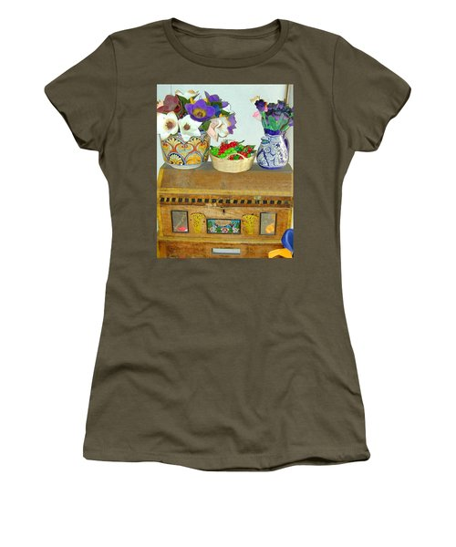 Women's T-Shirt featuring the photograph Flowers And Antique Chest by Joseph R Luciano