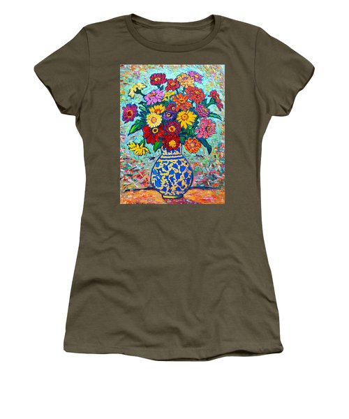 Flowers - Colorful Zinnias Bouquet Women's T-Shirt