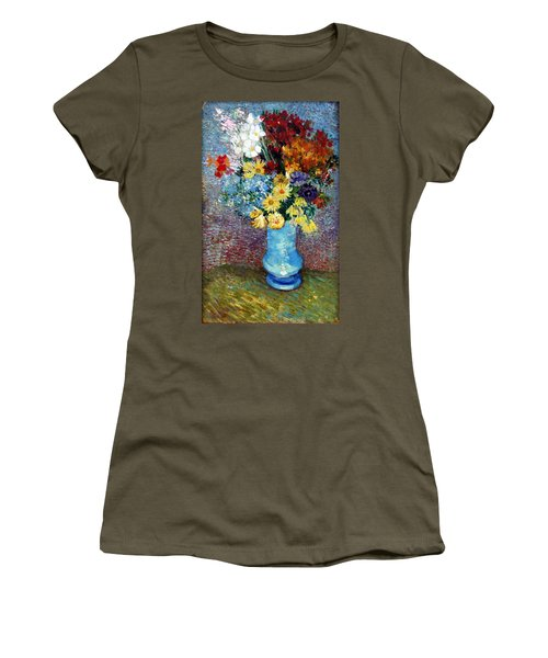 Women's T-Shirt featuring the painting Flowers In A Blue Vase  by Van Gogh