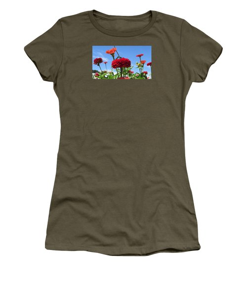 Women's T-Shirt (Junior Cut) featuring the photograph Flowers In The Blue by Jeanette Oberholtzer