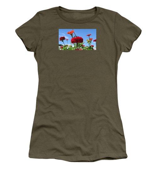 Flowers In The Blue Women's T-Shirt (Junior Cut) by Jeanette Oberholtzer