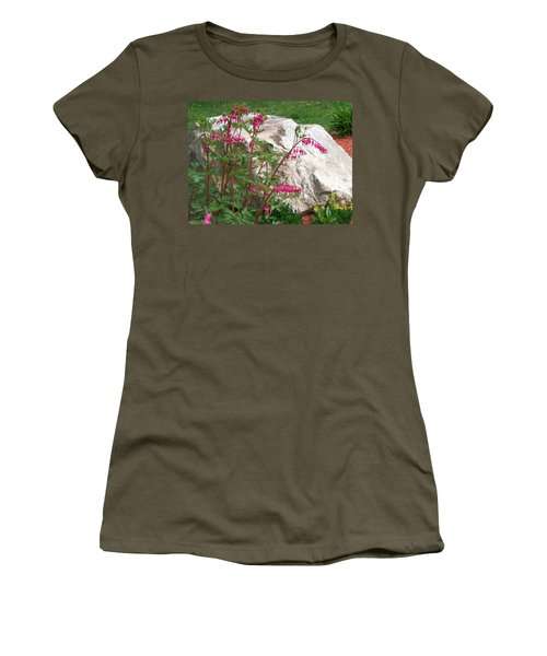 Women's T-Shirt (Junior Cut) featuring the digital art Flowers On The Rocks by Barbara S Nickerson