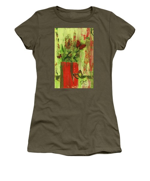 Women's T-Shirt (Junior Cut) featuring the mixed media Flowers,butteriflies, And Vase by P J Lewis