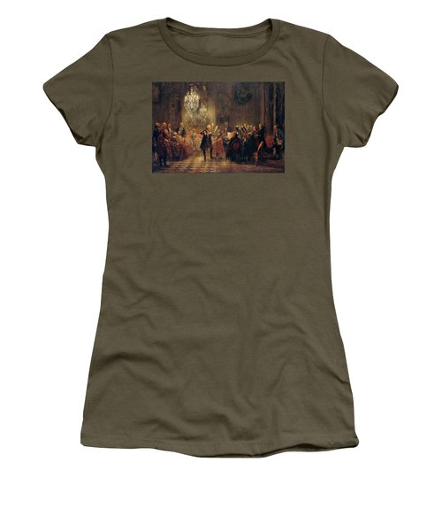 Flute Concert With Frederick The Great In Sanssouci Women's T-Shirt (Junior Cut) by Adolph Menzel