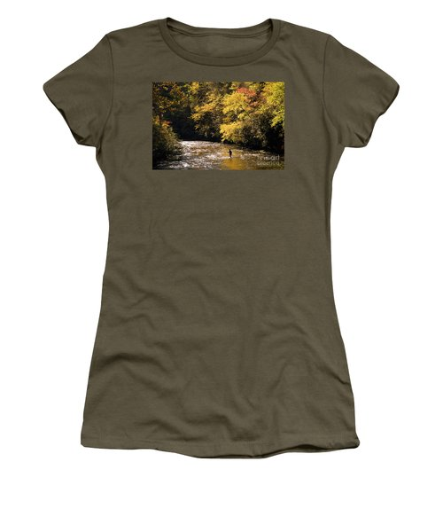 Women's T-Shirt (Junior Cut) featuring the photograph Fly Fisherman On The Tellico - D010008 by Daniel Dempster