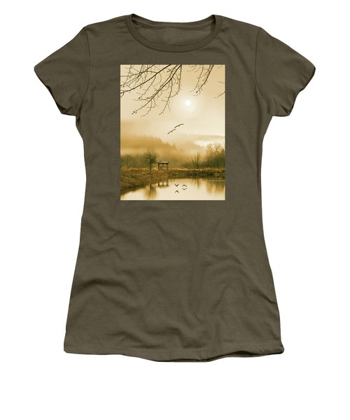 Foggy Lake And Three Couple Of Birds Women's T-Shirt