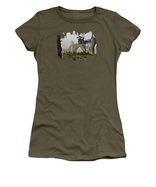 Women's T-Shirt featuring the photograph A Foggy Morning On Yaquina Bay by Thom Zehrfeld