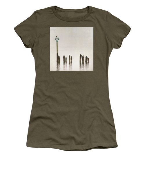 Women's T-Shirt (Athletic Fit) featuring the photograph Foggy Morning Texture Keyport Harbor by Gary Slawsky