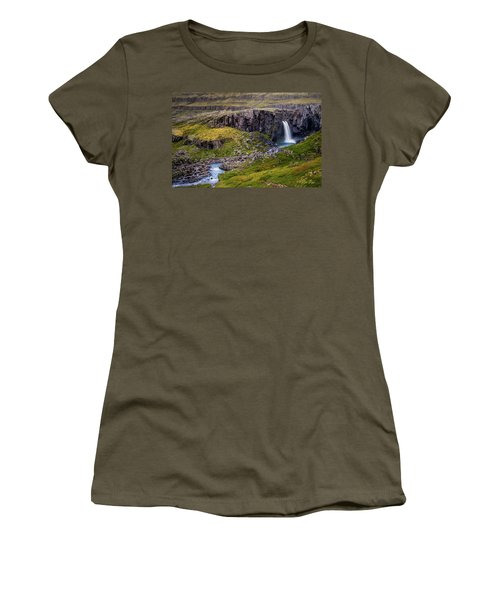 Women's T-Shirt (Athletic Fit) featuring the photograph Folaldafoss In Autumn by Rikk Flohr