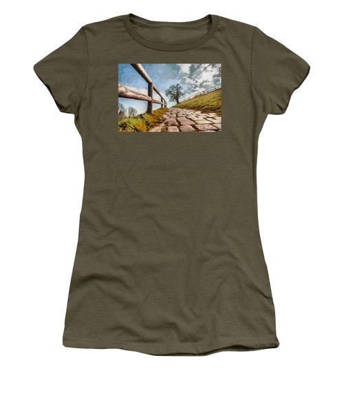Women's T-Shirt (Junior Cut) featuring the photograph Footpath by Sergey Simanovsky