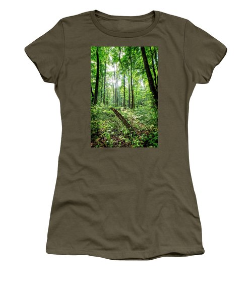 Women's T-Shirt (Athletic Fit) featuring the photograph Forest Sun by Alan Raasch