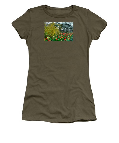 Women's T-Shirt (Junior Cut) featuring the photograph Forsythia Tulips And Daffadils by Diana Mary Sharpton