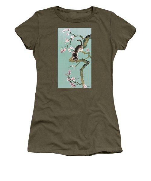 Fortune Cat In Cherry Tree Women's T-Shirt