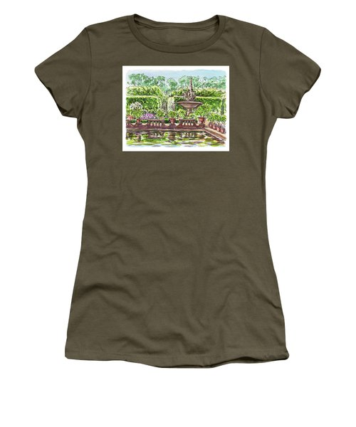 Women's T-Shirt (Athletic Fit) featuring the painting Fountain Island Boboli Gardens Florence Italy by Irina Sztukowski