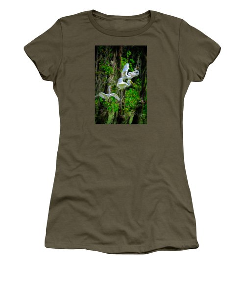 Women's T-Shirt featuring the photograph Four Egrets by Harry Spitz