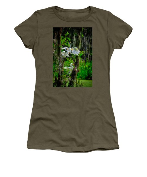 Four Egrets In Tree Women's T-Shirt