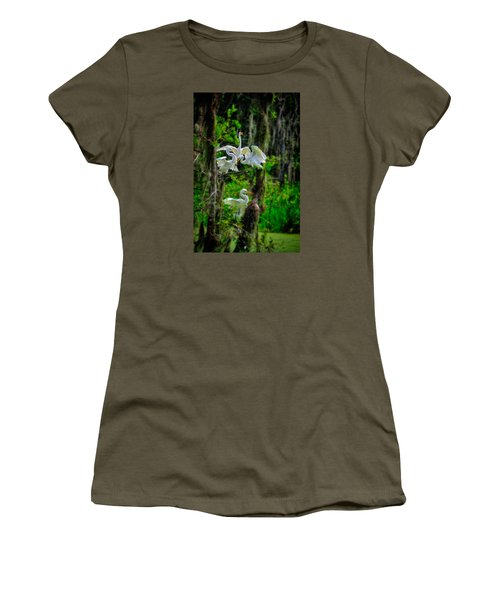 Women's T-Shirt featuring the photograph Four Egrets In Tree by Harry Spitz