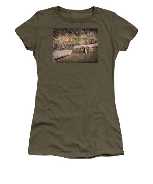 Women's T-Shirt (Junior Cut) featuring the photograph Fox Asleep by Edward Peterson