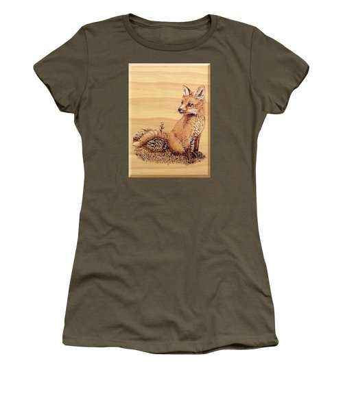 Women's T-Shirt (Junior Cut) featuring the pyrography Fox Pup by Ron Haist