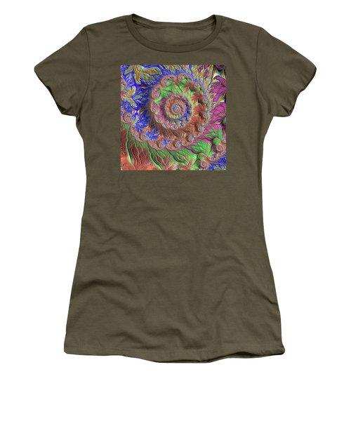 Women's T-Shirt (Junior Cut) featuring the digital art Fractal Garden by Bonnie Bruno