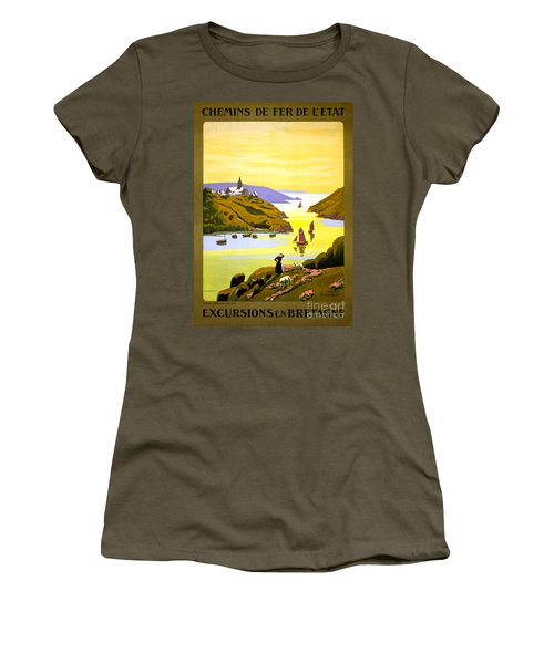 France Bretagne Vintage Travel Poster Restored Women's T-Shirt (Junior Cut) by Carsten Reisinger