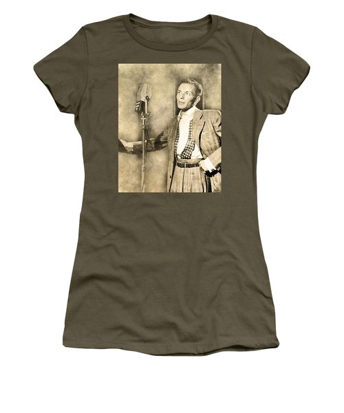 Women's T-Shirt (Athletic Fit) featuring the digital art Frank Sinatra Crooner by Anthony Murphy