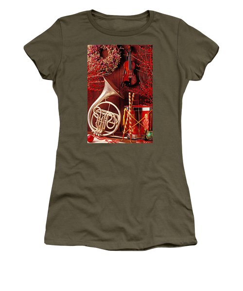French Horn Christmas Still Life Women's T-Shirt
